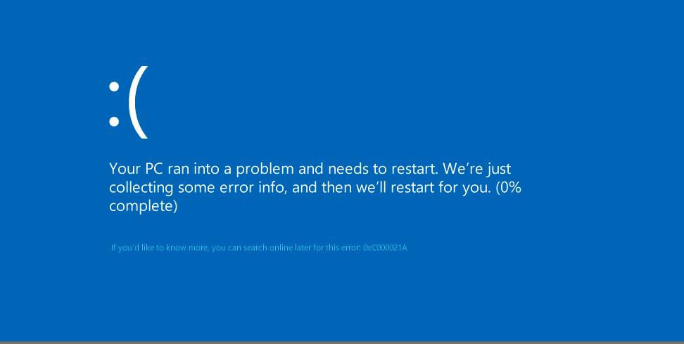 Фото ошибка 0xc000021a в Windows 8