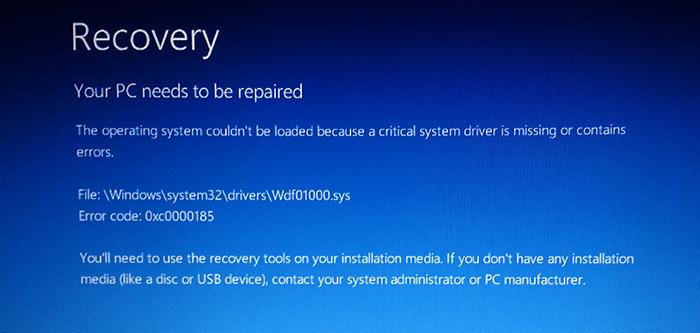Фото кода ошибки 0xc0000185 на Windows 8