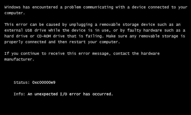 Фото ошибки 0xc00000e9 при загрузке ОС Windows 7