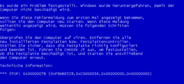 фото stop bsod 0x0000007b Windows XP