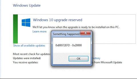 Фото проблемной ошибки 0x80072efd Windows