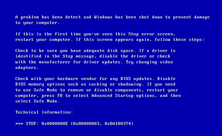 Фото проблемной ошибки 0x0000008e на Windows