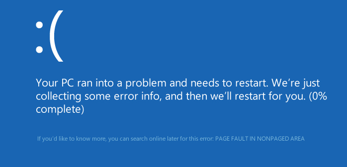Фото ошибки page fault in nonpaged area в системе Windows