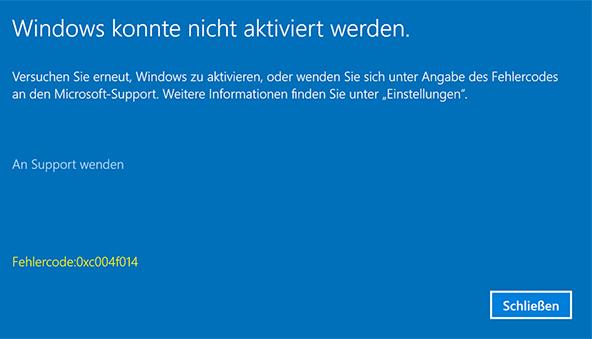 фото 0xc004f014 если не удалось активировать windows 10