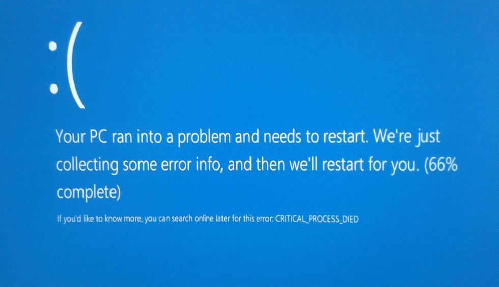 фото ошибки critical process died Windows