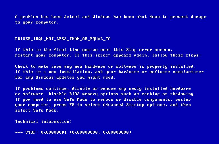Фото ошибки 0x000000d1 athrx sys Windows 7