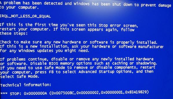 Фото синий экран 0x0000000a в ходе операции Windows 7