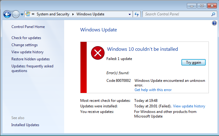 Фото Windowsupdate 80070002 Windowsupdate dt000 в Windows 7 и 10