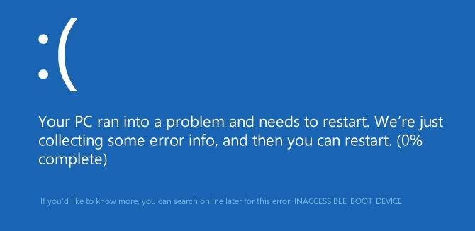при загрузке код ошибки inaccessible boot device