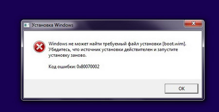 Фото непредвиденной ошибки 0x80070002 Windows
