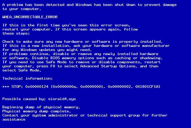 Фото ошибки синего экрана 0x00000124 Windows
