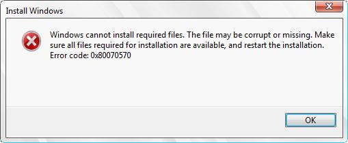 Фото ошибки Windows 0x80070570 файл или папка повреждены чтение невозможно