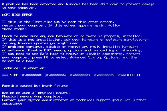 Фото ошибки 0x000000a5 при загрузке Windows 7