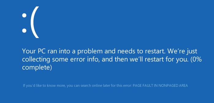 Фото ошибки page fault in nonpaged area в системе Windows