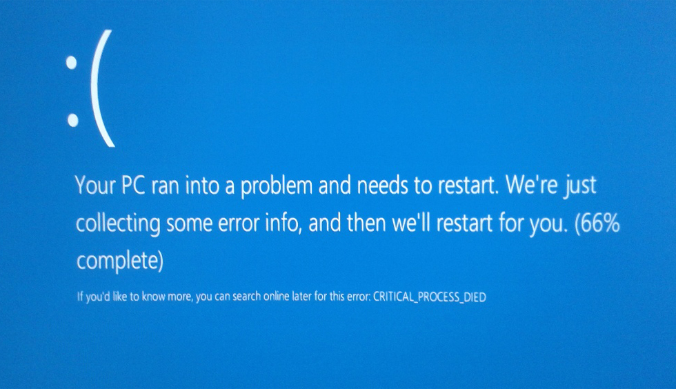фото ошибки critical process died Windows