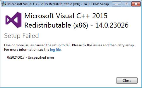 фото ошибки 0x80240017 на Windows 10