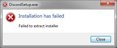 installation has failed discord на фото ошибка